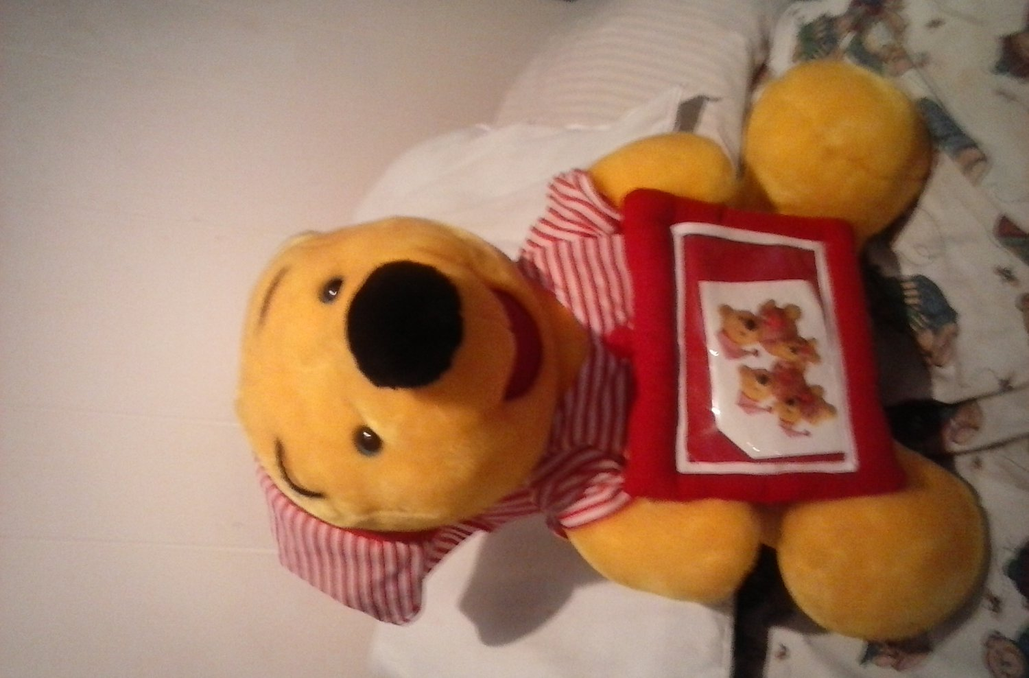 """Winnie the pooh large stuffed,plush bed time shirt and hat cute unique 16"""" nice"""