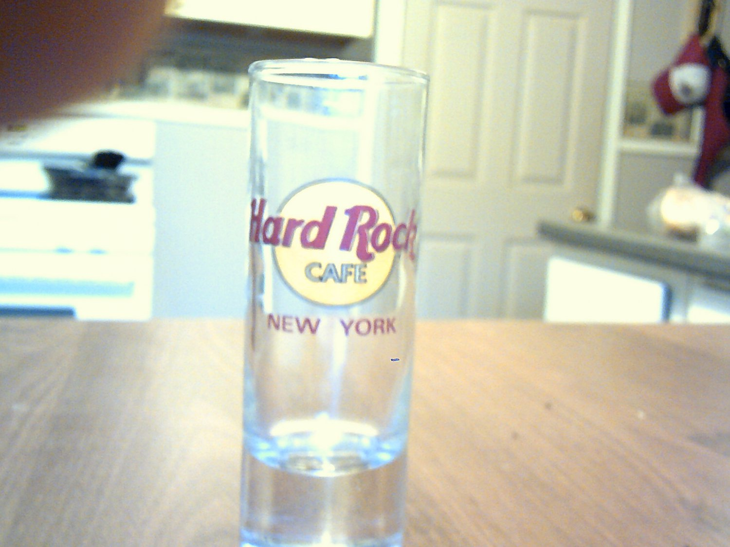 tall clear glass collectable shot glass hard rock cafe new york
