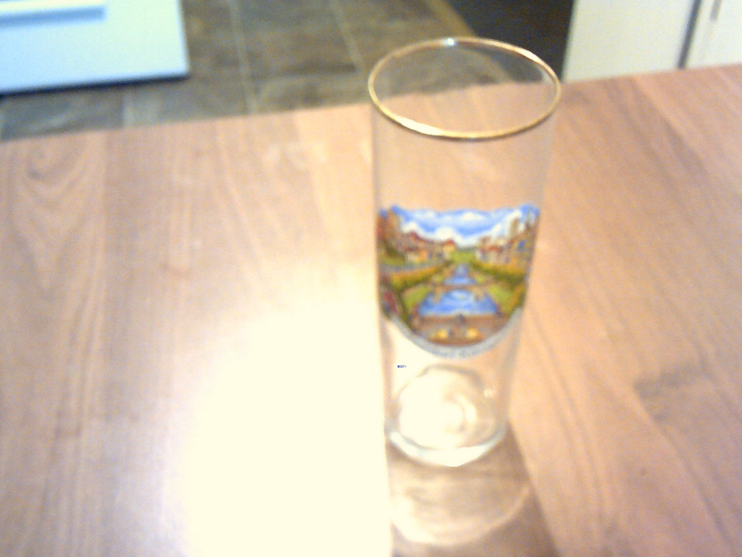 collectable glass clear glass with gold trim german dusseldorf-konigsallee