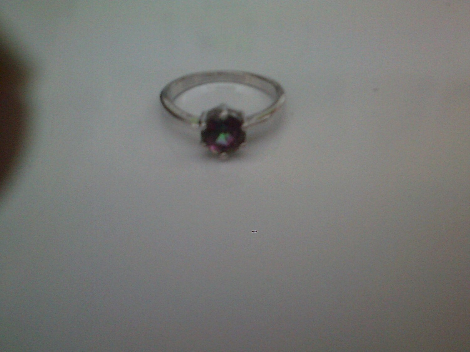 silver plated ring with multi-colored cz stone size 7