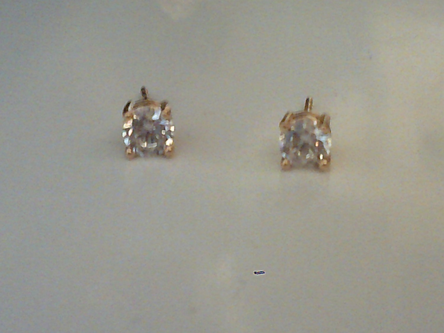 18k gold plated earrings with small clear cz stone