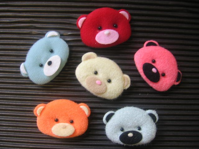 6Pcs Fabric Puffy Bears Sewing/Paper Craft/Kid/Mix