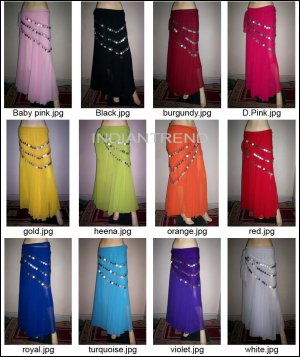wholesale 10  Full Circle Skirt With Lining Coin Scarve