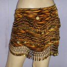 Tiger print Gold Coin Bollywood Belly Dance Hip Scarf