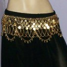 India Metal Coin Belt Belly Dance Gypsy  Gold Tone