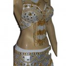 White Gold Belly Dancing Costume Set with Bra Belt and Skirt