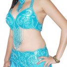 Turquoise Silver Belly Dancing Costume Set Full Circle Skirt