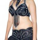 Black Silver Belly Dancing Costume Set Full Circle Skirt