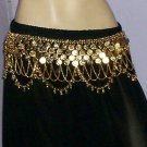 Bollywood style Metal Coin Belt Belly Dance Jaal gold tone