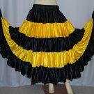 Black yellow Flamenco Tribal Fusion satin skirt