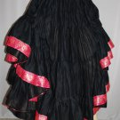 25 Yard Gypsy Tribal Danc Skirt cotton  Black with Lace Trim New