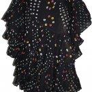 Black color tribal belly dance polka dot skirt - indiantrend