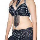 Black Silver Belly Dancing Costume Pro