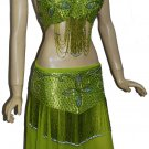Professional Tribal Belly Dance Costume Lime Green EHS