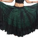 Indiantrend 25 Yard Spainish Belly Dance Skirt - Green Tie Dye