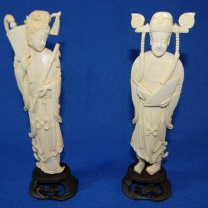 Antique Asian ivory Emperor and Empress carvings