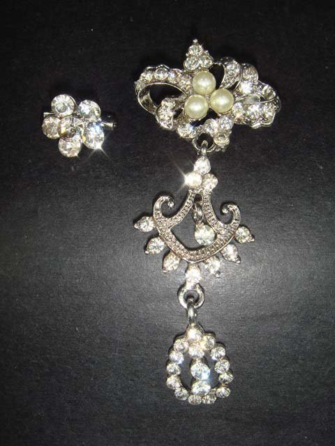 2 pcs Bridal Faux Pearl Rhinestone Brooch pin Pi153