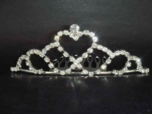 Bridal Rhinestone heart hair tiara comb crown C41
