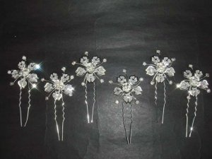 6 Bridal Flower Rhinestone Hairpins Hair pins RP124