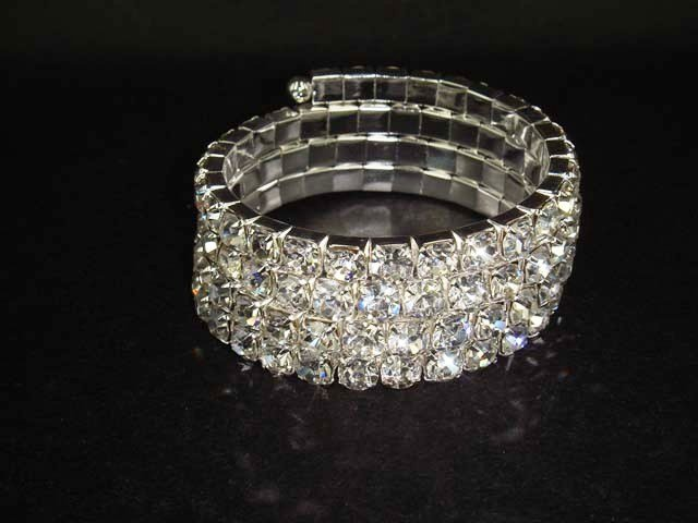 Bridal 4 row Rhinestone Stretch Bracelet Armlet BR173