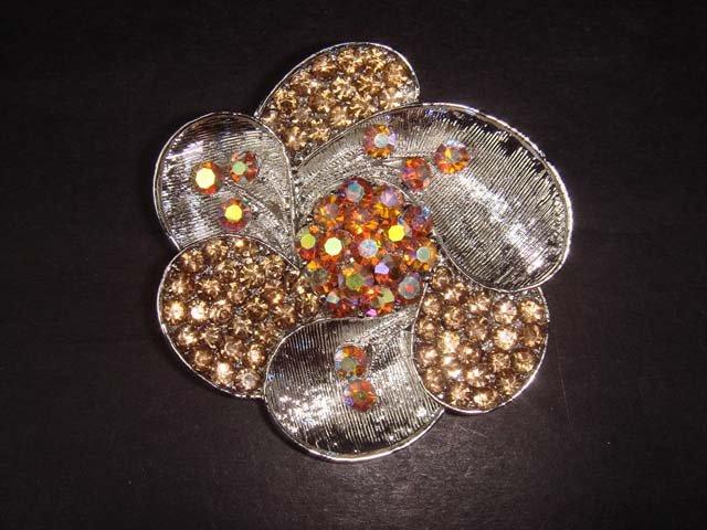 Bridal Vintage style flower Rhinestone Brooch pin PI125