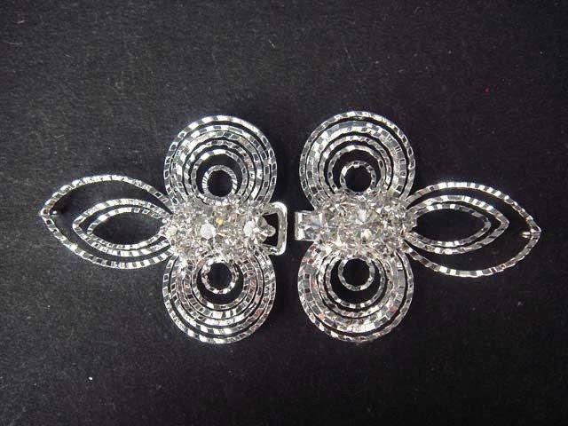 Vintage style dress Rhinestone clasp hook button BU23