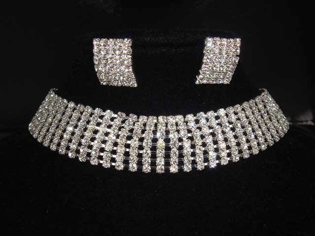 7 row Bridal Rhinestone necklace earring Set NR206