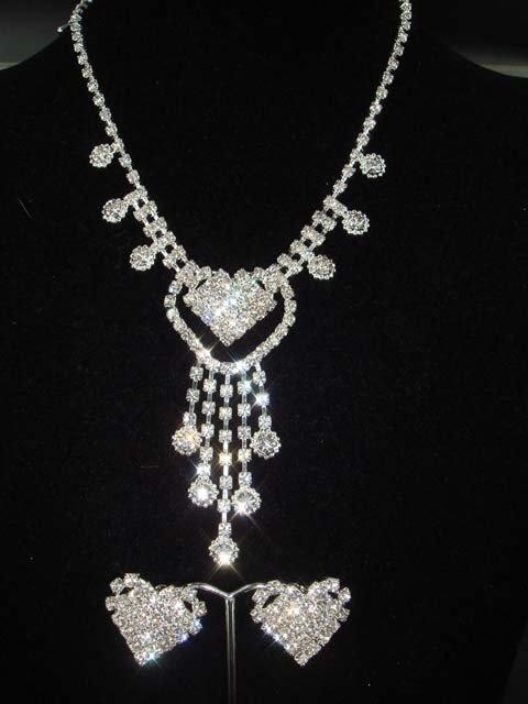 Bridal Heart Rhinestone necklace earring Set NR138