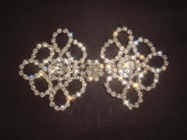 Dress Crystal Rhinestone clasp hook buckle button BU07