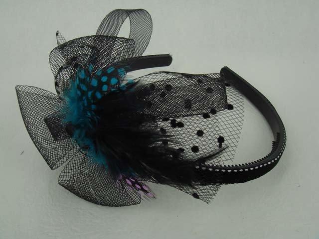 Bridal Feather Bow peacock Pheasant Blue Headband HR87