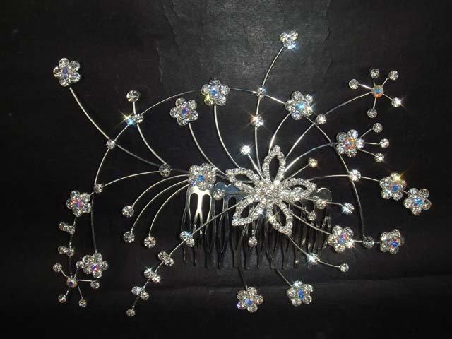 Bridal Rhinestone Flower crystal Hair tiara Comb RB429