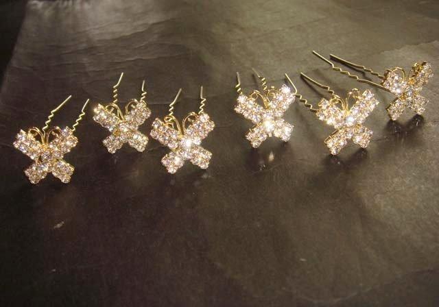 6 Bridal Butterfly Rhinestone Hairpins Hair pins RP165