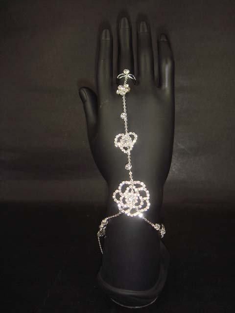 Sexy Rhinestone Flower slave anklet with ring BR179