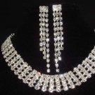 4 row Bridal Rhinestone necklace earring set NR187