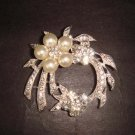 Bridal Faux Pearl wreath Rhinestone Brooch pin Pi366
