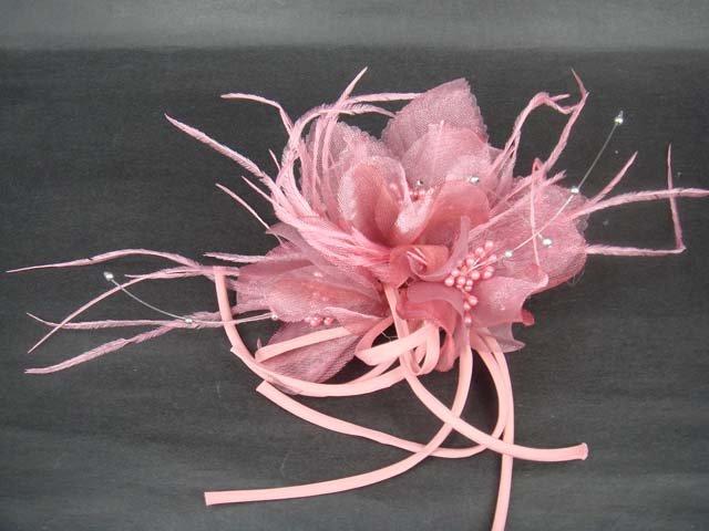 Bridal Feather tiara Hair silk flower pin clip BA98
