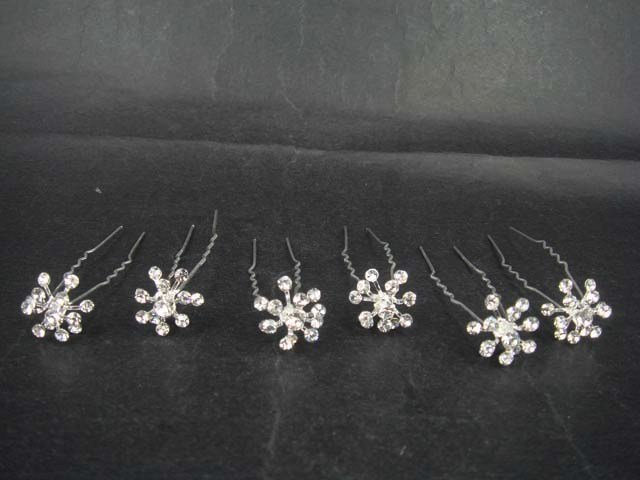 6 Bridal Flower Rhinestone Hairpin tiara Hair pin RP162