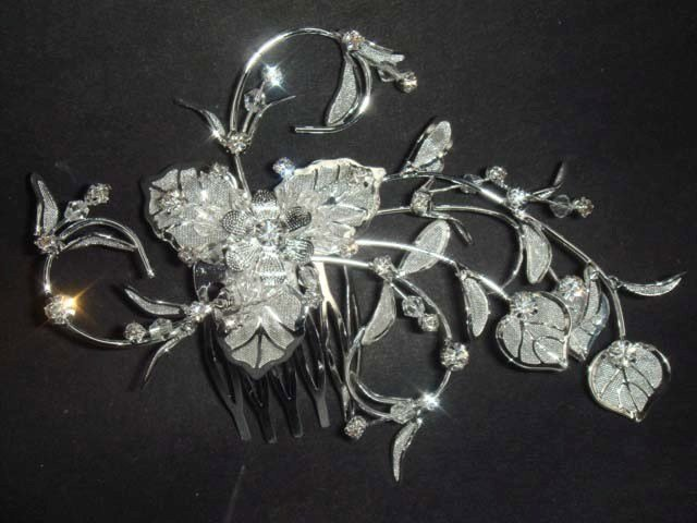 Bridal Rhinestone Flower Crystal Hair tiara Comb RB111B