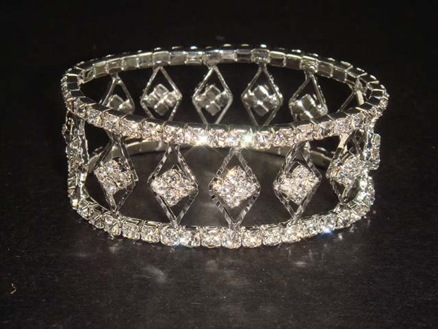 Bridal Crystal Rhinestone Bangle rhombus Bracelet BR159