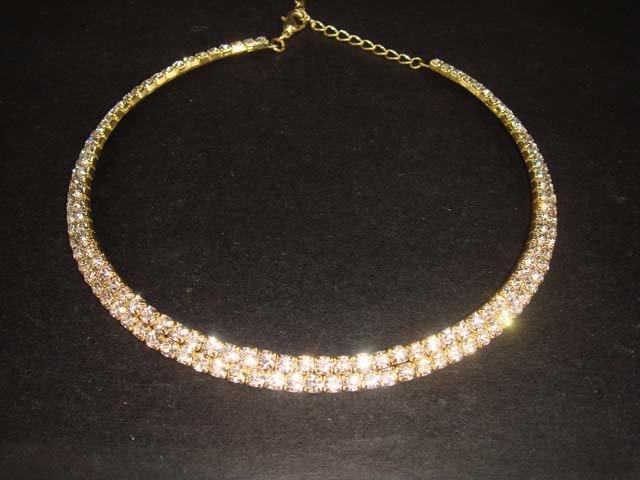 Rhinestone 2 rows Bridal gold tone choker necklace NR23
