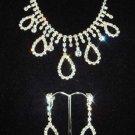 Bridal Crystal rhinestone necklace earring set NR111