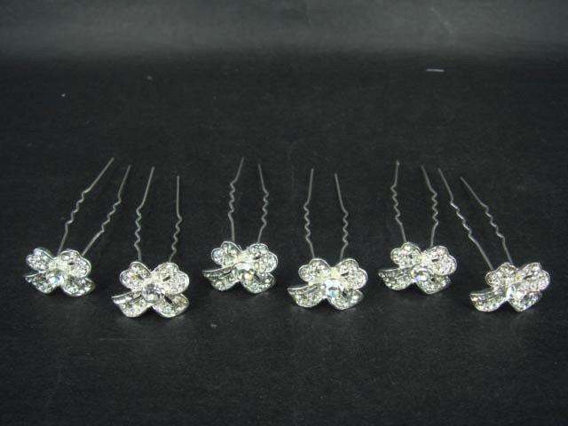 6 pcs Bridal Rhinestone Bow crystal tiara hairpin RP144