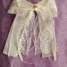 Bridal Flower girl Bow Lace Ivory Hair Barrettes HR103