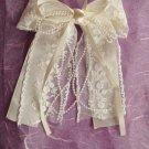 Bridal Flower girl Bow Lace Ivory Hair Barrettes HR103