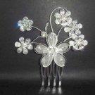 Bridal Crystal Flower Rhinestone Hair tiara Comb RB58