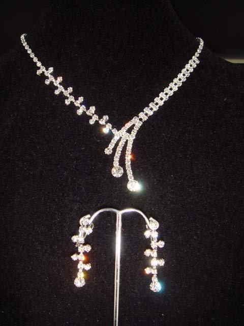 Bridal Crystal rhinestone necklace earring set NR171