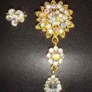 2 pcs Bridal Faux Pearl Rhinestone Brooch pin Pi151