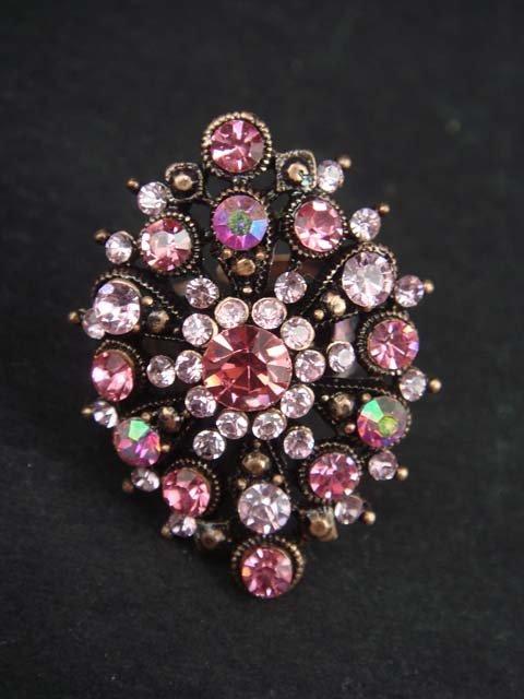Pink Bridal Vintage style Rhinestone Cocktail Ring R15