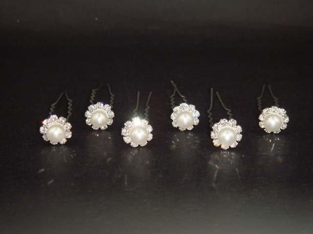 6 Bridal Faux Pearl Rhinestone Hairpin Hair pin RP73
