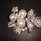 Bridal Faux pearl crystal Rhinestone Brooch pin Pi289
